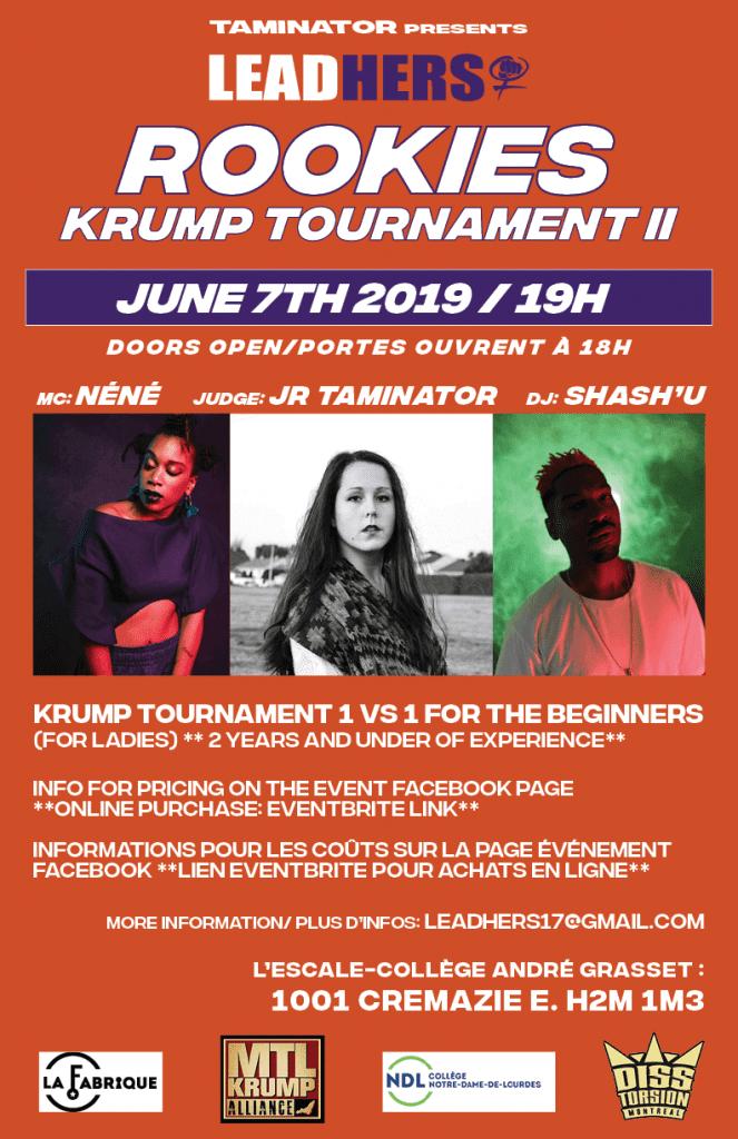 Flyer for Leadhers Rookies Krump Tournament 2